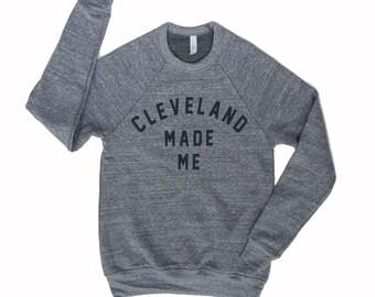 Unisex 'Cleveland Made Me' Grey TriBlend Fleece Crew Sweatshirt