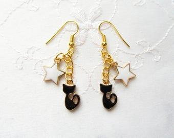 Cat Charm Earrings / Black Cat / Star / Cat Earrings / Cute Earrings / Kawaii Earrings / Cats / Kitty