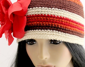 Crocheted Flower Beanie Hat. Red. Wool.