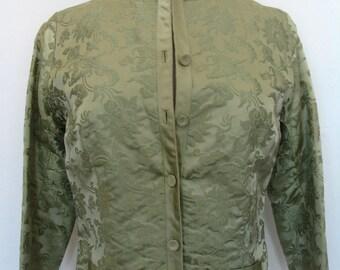 Dynasty Hong Kong Green Silk Damask Crop Sleeve Jacket Size S-M