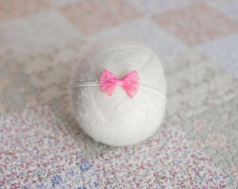 Pink Headband, Lace Headband, Pink Bow Headband, Lace Bow Tieback, Lace Newborn Headband, Pink Lace Headband