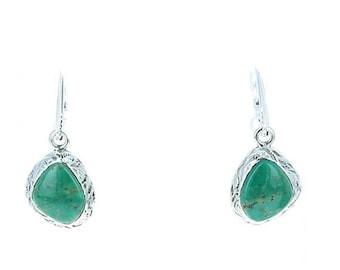 40% Off Earring Sale : ) Fox Turquoise Earrings Sterling Silver Southwest Style NewWorldGems