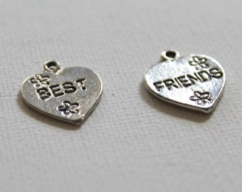 2 Best Friend Charms, Pewter, BFF, Item 124