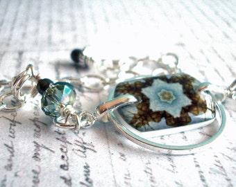 birthday blue kaliedoscope eyes bracelet , resin bracelet , adjustable size bracelet, gifts under 25