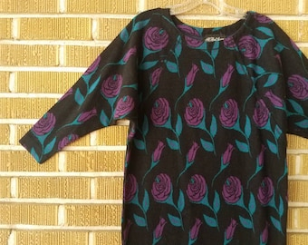 80s floral bodycon sweater dress