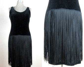 CLEARANCE // Vintage 1960s Flapper Style Dress 60s Black Stretch Velvet and Fringe Dress from I. Magnin Size 6 M