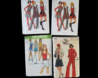 4 vintage WOMENS SEWING PATTERNS from 70s / Simplicity 9332 & 2x 5155 / Vogue 9083 / top pants mini jumper vest scooter skirt / mod fashion