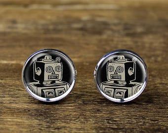 Robot cufflinks, Android cufflinks, Robot jewelry