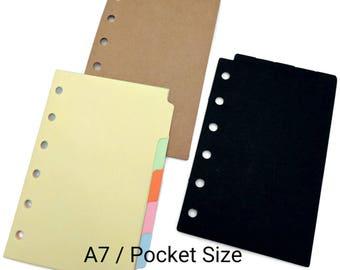 A7 Pocket Size  Dividers with Tabs for Filofax Pocket Kikki K Planner, Black, Brown Kraft Paper [Top Tabs]
