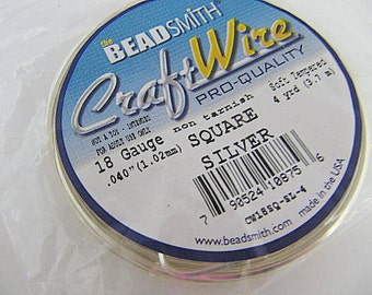 Silver Craft Wire Coiled 18 Gauge Square, Twisting Wire, Non-Tarnish, Silver Plated, 4 Yards, Beadsmith, Wire Wrapping, Soft Temper