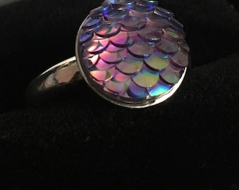 Holographic Mermaid Scale Dragon Scale Ring