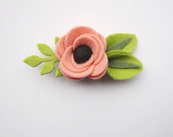 Blush Felt Flower Headband or Hair Clip