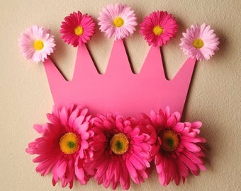 Custom Crown with Flowers - Custom Crown with Pompoms