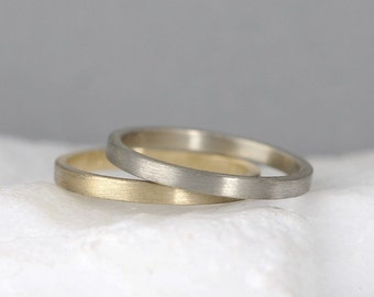 2mm 14K Gold Wedding Band – Men's or Ladies Wedding Rings – Matte Finish – Yellow or White Gold – Commitment Rings – Classic Flat Gold Bands