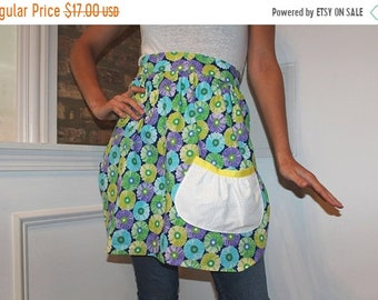 ON SALE Blue, green, purple, floral print half apron