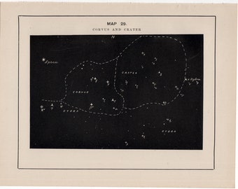 1891 CORVUS & CRATER constellation print - original antique astronomy lithograph - celestial star map - star chart of the sky - stars print