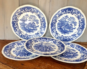Vintage Blue Transferware Dinner Plate Set ... : vintage dinner plate sets - pezcame.com