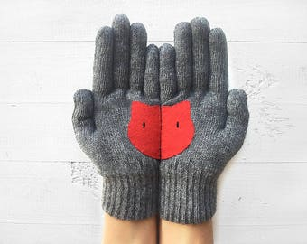 Women's Gift, Cat Gloves, Mother's Day Gift, Cat Lover Gloves, Gray Gloves, Gift For Her, Gift For Mother, Gift For Lover, Women's Gloves