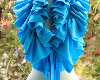 Ruffle Scarf - Turquoise Cotton Gauze Cowl - Victorian Fashion Collar by Mademoiselle Mermaid