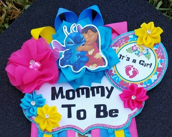 Baby Girl Lilo and Stitch Themed Mommy To Be Baby Shower Corsage or Badge