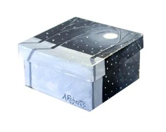 Full Moon Night Landscape Jewelry Storage Box, Hand Painted Box, Full Moon Box, Night Landscape Box