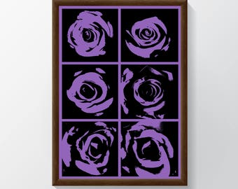 A1 Poster of Roses with Purple Background/ Digital