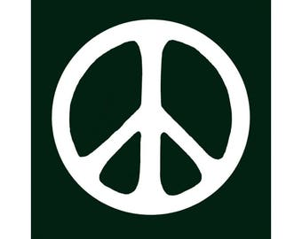 Peace Sign / Symbol - White Over Dark Green - Bumper Sticker / Decal or Magnet