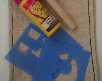 DIY Kit – Craft Kit – decorative stencil pillow sash – 14 inch wide