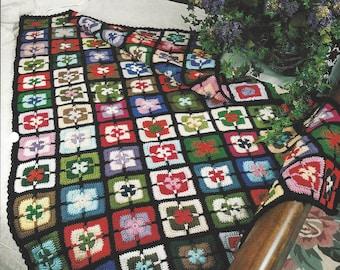 Splash O' Color Crochet Afghan Blanket Pattern, Home Decor, Granny Square, Bedspread, Sofa Throw, Bedding, Annie's Crochet Quilt