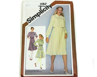 Uncut Sewing Pattern Simplicity 9767 Pullover Dress 1980