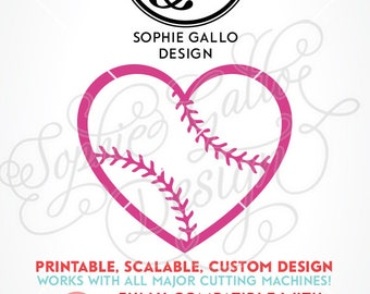 Baseball Love Heart SVG DXF PNG digital download files Silhouette Cricut vector clip art graphics Vinyl Paper Cutting Machine Screen Print