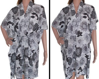 Black floral  Kaftan (Getting ready robes, Nursing mothers, Lounge wear, Beach cover up, Bridesmaids Gifts)