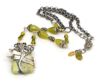 Boho Dragonfly Necklace Natural Jewelry, Women's Boho Statement Necklace, Green Stone Necklace, Boho Gift Ideas, Jewelry Gift Wife