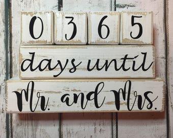 Heavily Distressed. Days Until Wedding Countdown. Countdown to Wedding. Countdown Mr. and Mrs. Marriage Countdown Blocks. Distressed Countdo