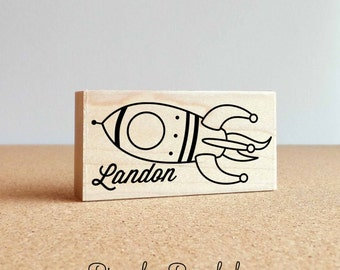 Personalized Custom Rubber Stamp, Custom Name Stamp with Rocket