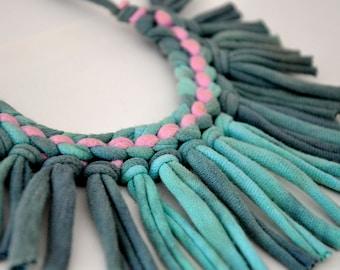 bijoux de tissu ombre lilas déclaration tribal collier - turquoise