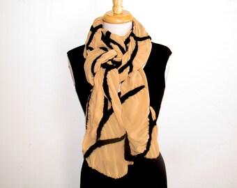 Wide nuno felt scarf: black abstract line design on gold polyester chiffon