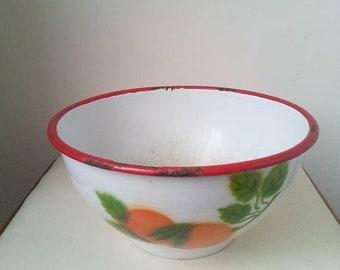 20%Off Peach Vintage enamel white fruit bowl, rustic kitchen decor, antique farmhouse