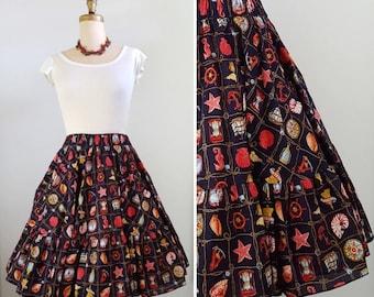 Seaside living   1960s novelty print skirt   60s nautical themed full skirt
