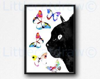 Black Cat With Butterflies Print Watercolor Painting Art Print Cat Lover Gift Wall Art Living Room Decor Cat Wall Decor Unframed