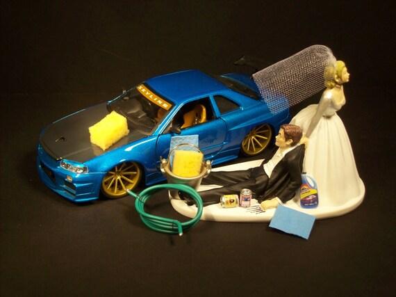 AUTO CAR Wash 2002 Nissan Skyline GTR R34 Blue W/ Wing Funny