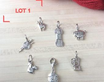 Lot de 7 marqueurs pour votre tricot : 6 anneaux marqueurs et 1 marqueur amovible mouton - Lot numéro 1