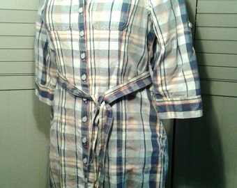 Madras Shirt Dress Cotton Button Front Tie Belt Vintage LL Bean Spring Summer Pastel Plaid Indigo Blue 3/4 Sleeve Womens Size Extra Small XS