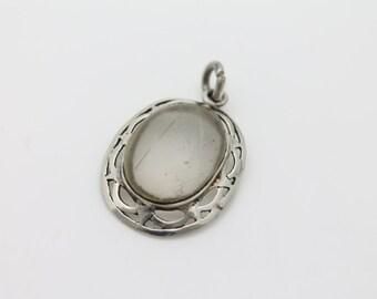 Antique Sterling Silver Hand Pierced Oval Bezel Pendant w Quartz Cabochon. [3369]