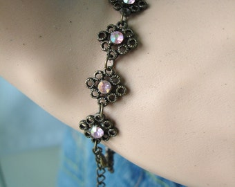Vintage Oxidized Silver Bracelet with Pink Rhinestones, Crystals - Early 90s Bacelet - Shabby Chic