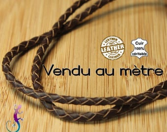 Braided brown leather cord for bracelet, necklace A237 meter
