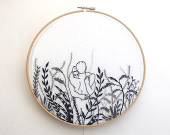 "Embroidery art ""Monochrome"" / Hoop art / Gay art"