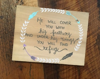 Psalm 91:4.Inspirational signs.Gifts.Signs.Reclaimed wood sign. Feathers.Arrows.Scripture signs. 4MenAndALadyCrafts. Refuge.