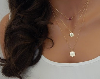 Layered Initial Necklace • Personalized Monogram • Gift for Her • Birthstone Necklace • Layering Necklace (CUC9)