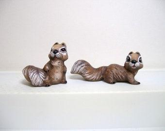 Squirrels, ceramic miniature squirrels, set of 2